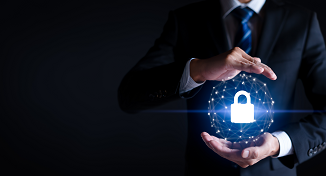 Image of a man with a flowing digital security padlock